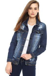 Jaqueta Jeans Planet Girls Destroyed Azul