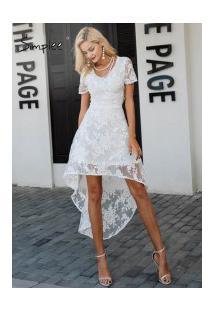Vestido Floral Rendado Simplee - Branco