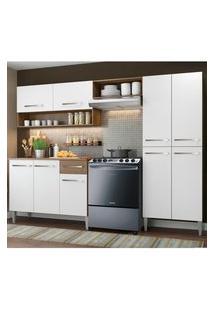 Armário De Cozinha Compacta Madesa Emilly Pop Com Balcão Rustic/Branco Cor:Branco/Rustic