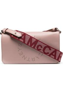Stella Mccartney Bolsa Transversal Mini Com Logo Stella - Rosa