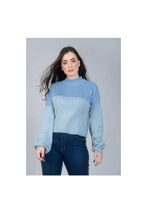 Blusa Charme Tricot Ampla Azul