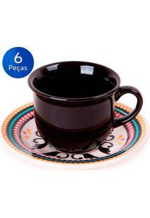 Conjunto De Xícaras Para Café Com Pires 6 Peças Floreal Luiza - Oxford