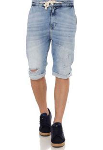Bermuda Jeans Moletom Masculina Rock&Soda Azul