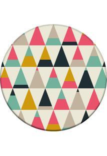 Tapete Love Decor Redondo Wevans Triangulos Multicoloridos 94Cm - Off-White - Dafiti