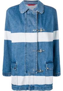 Fay Jaqueta Jeans Com Listras - Azul