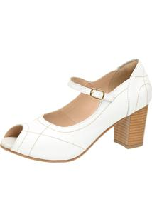 Sandália Retrô Peep Toe Touro Boots Feminina Branco - Kanui