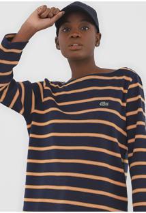 Blusa Lacoste Tricot Listrado Azul-Marinho