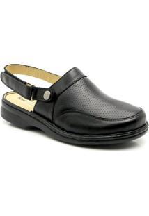 Babuche Doctor Shoes Conforto 371 Com Alça Reversível Em Couro Donna Comfort - Feminino-Preto