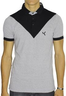 Camisa Polo Vk By Vk Chambray Geométrica Masculina - Masculino