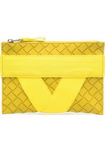 Bottega Veneta Clutch Com Padronagem Intrecciato - Amarelo