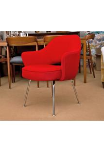 Cadeira Saarinen Executive Inox (Com Braços) Tecido Sintético Marrom Soft D095