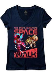 Camiseta Cool Tees Gola V Geek Feminina - Feminino-Marinho