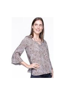 Blusa 101 Resort Wear Decote Tiras Viscose Estampada Animal Print Marrom
