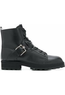 Tod'S Ankle Boot Com Cadarço E Fivela - Preto