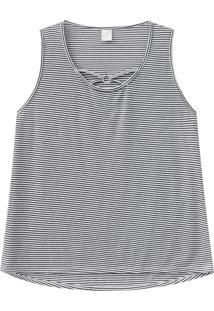 Blusa Lecimar Plus Em Meia Malha Alto Verão Listrada G3 Cinza