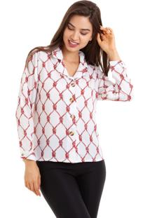 Camisa Kinara Crepe Manga Longa Estampada Branco