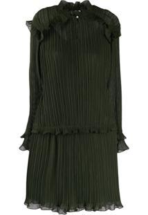 Kenzo Pleated Short Dress - Verde