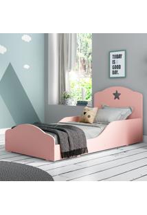 Mini Cama Montessoriana Star Plus Com Colchão 150X70Cm 100% Mdf Multimóveis Rosa