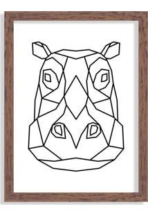 Quadro Decorativo Line Drawing Hipopótamo Madeira - Médio