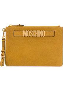 Moschino Clutch Com Glitter - Dourado