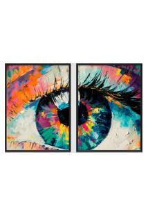 Quadro 65X90Cm Abstrato Olhar Aquarela Moldura Preta Sem Vidro Decorativo Interiores