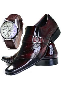 Kit Sapato Social Verniz Com Relógio Gofer Masculino 632L Vermelho
