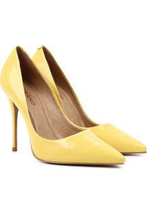 Scarpin Couro Carrano Bico Fino Salto Alto - Feminino-Amarelo