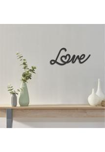 Escultura De Parede Em Mdf Love Preto - Médio