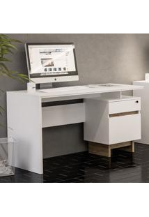 Mesa Para Computador Los Angeles 2 Gavetas Branco/Carvalho - Politorno