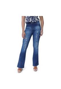 Calça Feminina Jeans Flare Com Rasgos E Abotoamento
