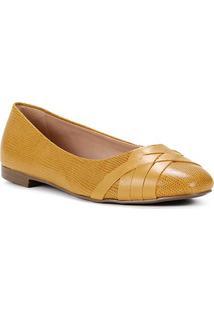 Sapatilha Couro Shoestock Bico Redondo Lezard Feminina - Feminino-Amarelo
