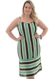 Vestido Tricolor Listras Verde Plus Size