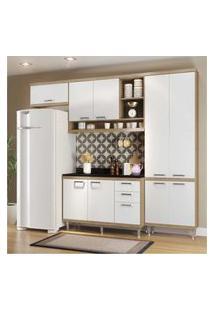Cozinha Completa Compacta Com Armário E Balcáo Com Tampo Lara Multimóveis Argila/Branco