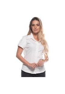 Blusa Feminina Elastano Manga Bufante Gola De Bico Branco Gg Branco