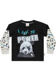 Camiseta Infantil Elian Power Panda Manga Longa Masculina - Masculino