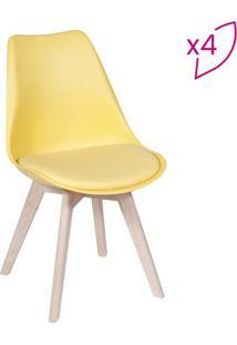 Jogo De Cadeiras Modesti- Amarelo & Bege Claro- 4Pã§Sor Design