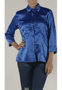 Camisa Marcia Mello Cetim Cmil Chamonix Azul