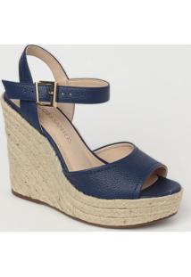Sandália Plataforma Em Couro Com Fivela- Azul Marinho
