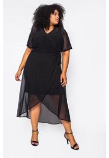 Vestido Almaria Plus Size Alt Brand Wrap Tule Feminino - Feminino-Preto