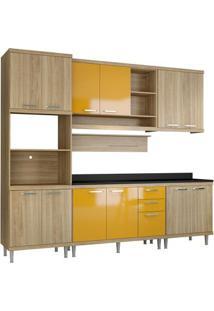 Cozinha Compacta Sicília 7 Peças Argila E Amarelo Multimóveis