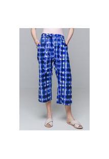 Calça Pantacourt 101 Resort Wear Algodao Estampado Geometrico Azul