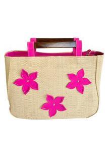 Bolsa De Palha De Buriti Alça De Madeira Aplicação De Flores Pink