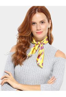 Echarpe Boca Amarelo Feminina - Feminino-Amarelo