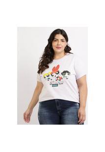 Blusa Feminina Plus Size Meninas Super Poderosas Manga Curta Decote Redondo Branca