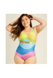 Maiô Plus Size Feminino Estampado Banho De Mar