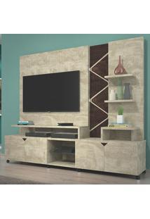 Estante Home Theater Para Tv Até 55 Pol. Cross Rovere/Noce - Lukaliam Móveis
