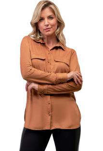 Camisa Mx Fashion Suede Nicole Caramelo