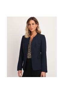 Blazer Feminino Acinturado Com Bolsos Azul Marinho