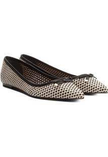 Sapatilha Couro Shoestock Tressê Feminina - Feminino-Preto+Off White