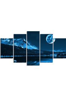 Quadro Decorativo Noite Lua Cheia Luar Quarto Sala Casa - Azul Marinho - Dafiti